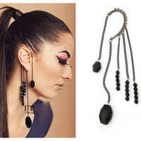 Exaggrated Punk Rock Night Party Style Black Beads Tassel Cuff Earring Gothic Ear Cuff Wholesale