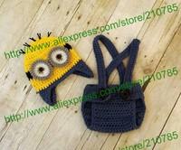 Free shipping,Baby Boy Minion Set Crochet Despicable Me Minion suspender Diaper Cover & Hat Beanie Cap Costume Photo Prop