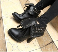 Free shipping fashion short sexy platform ankle Womens shoes  pumps high heels boots lacing rivet draw