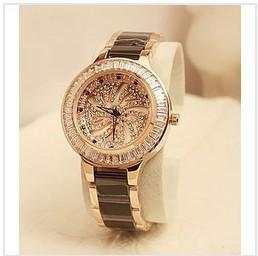 Rotary dial watch female black ceramic watchband ladies watch quartz fashion trend table for women watches diamond