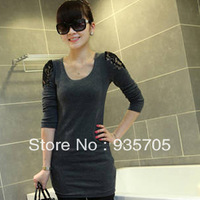 Free Shipping Basic shirt female autumn fashion sexy lace cutout patchwork hip slim one-piece dress female t-shirt
