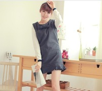 2013 autumn women's slim all-match bow ruffle woolen vest one-piece dress 8200