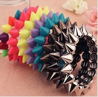 Hot Sale Punk Fashion Mixed Color Exaggerated Spike Rivet Resign Stretch Bracelet  Wholesale