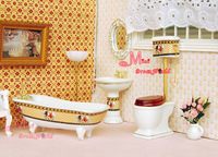 Free Shipping !  Classical Bathroom Toilet Set 4pcs~ 1/12 Scale Dollhouse Miniature Furniture