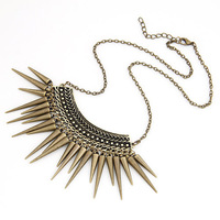 Hot Sale Punk Style Rivet Fashion Long Chain Antique Bronze Plated Retro Spike Tassel Pendant Necklace