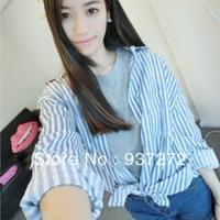 fashionable  Shirt female autumn casual thin breathable stripe loose plus size shirt female air conditioning shirt outerwear