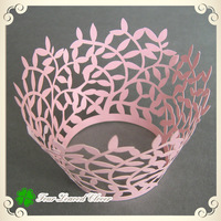 Free Shipping! 100 pcs/ lot Pink Leaf design Cupcake toppers wedding,cupcake packaging wholesale cupcake boxes,Baking paper cups