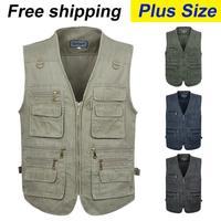free shipping 2014 summer men's plus size fishing jacket denim vest and outdoor casual multi-pocket waistcoat men Hot sale