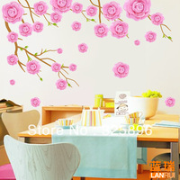 Free shipping Wall stickers camellia romantic bedside tv decoration wall stickers