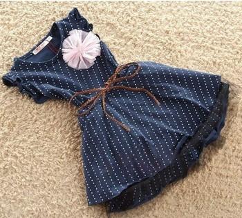 Dark blue short sleeve dots stripe flower kids girls fashion dresses with belt girl dress 2013 summer 1pcswholesale