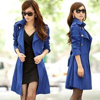 2014 New Arrival Autumn Winter Fashion Korean Women's trench Coat medium-long Outerwear Dresses plus size S-XXXL T199
