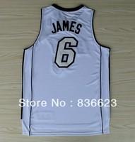Free shipping - New Material #6 LeBron James Christmas White Men's Basketball Jersey Embroidery logos size: S-XXXL