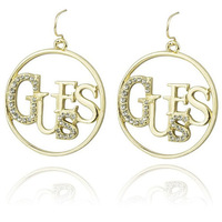 2013 NEW Fashion GuGuess Rhinesotne Round Gold/ Silver Plated Womens Dangle Earrings Guessies Letters Drop Hook Earrings JP947