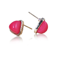 Alloy gold plated stud earring fashion heart fashion acrylic stud earring