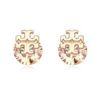 Fashion Cross Logo Stud Earrings with Zircon 18K Gold Plated Earrings Wholesale Free Shipping