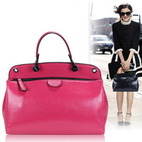 2013 NEW Fashion Street Style Candy Colors Genuine Leather Women Handbags Casual Real Leather Lady Shoulder Bags Free Shipping
