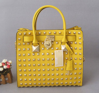 New Free Shipping 2013 Fashion Women's PU Leather Bag Rivets Handbag