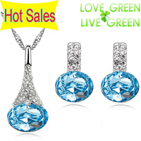 2013 new arrival brand bridal wedding wholesales 18K Platinum PLated Flower pendant necklace earrings fashion jewelry sets 80126