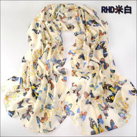 (Min order is $10,Mix order)New Arrival Fashion Autumn Scarves Lady Butterfly Velvet Printed Chiffon Scarf Shawl Free Shipping