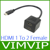 Free Shipping Gold HDMI Male to Dual HDMI Female 1 to 2 Way Y Splitter Adapter Cable for HDTV