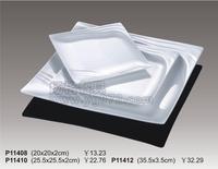 Quality porcelain square plate belt stripe white tableware sushi cabob mug-up plate