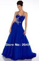 ED2080 Custom Royal Blue Beaded Halter Royal Blue Plus Size Evening Dress Cheap