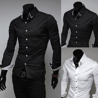 2013 spring autumn fashion Black white stripe  New Mens Luxury Casual Stylish Slim Fit Dress Shirts 4 Size