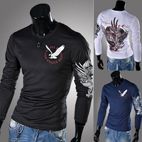 Selling fashionable new winter men's cultivate one's morality eagle printing round neck long sleeve T-shirt