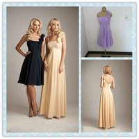One Shoulder Handmade Flower Yellow Chiffon Bridesmaid Dresses