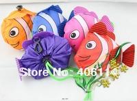 10pcs Mixed Color Tropical Fish Foldable Eco Reusable Shopping Bags Nylon 38cm x58cm