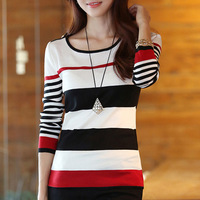 2013 New Arrival Autumn Women's Casual Slim O-neck Stripe Cotton Pullover Sweaters,M-S1011,Free Shipping