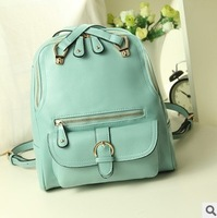2013 New fashion candy color backpack PU leather girls' school bag woman handbag