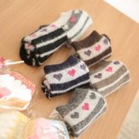 new arrival hot sale Winter warm thickened personality striped heart rabbit wool socks winter socks women free shipping