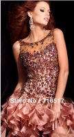 Free Shipping New Jewel Beaded Custom Size Front short Back  Long Formal Bridesmaid  Dresses