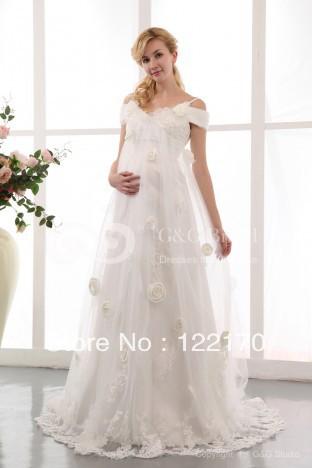 2014 new plus size maternity empire waist fairytale colors for Empire waist wedding dress patterns