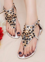 Free shipping! Fashion ladies' bling beaded bohemia clip toe flat heel zipper after sandals casual shoes size 35-41,GS_A1236