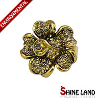 Free Shipping Mix Color Wholesale New Fashion Women Vintage Colorful Rhinestone Statement Charms Rings SR019