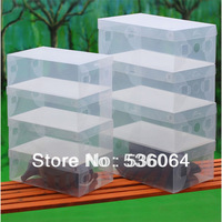10pcs Clear Shoe Storage Box Plastic Stackable Shoe Organizer Foldable Holder Freeshipping