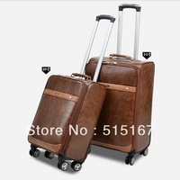 "quality brown women's leather bags  rolling luggage 20"" 24"" men travel bags free shipping"