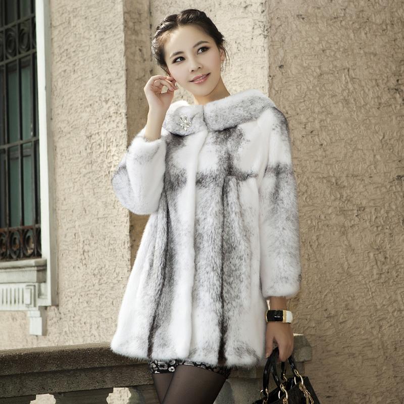 Women's Fur Coat Jacket 2013 mink medium-long female marten overcoat(China (Mainland))