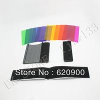 100% GUARANTEE  10X  12pcs Strobist Flash Color card diffuser Lighting Gel Pop Up Filter for camera