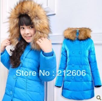 2013 Fashion Slim Medium-Long Kids Jacket Big Fur Collar Girl's Candy Colors Down Coat Child Winter Clothing Baby Outerwear
