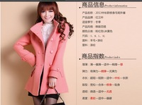2013 new arrival double breasted women winter slim wool coat good quality Free shipping S M  L XL