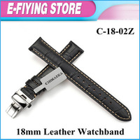 BLack Watchband Steel Folding Clasp Buckle Strap Crocodile Grain Cowhide Genuine Leather Watch Bands Free shipping