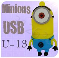 Hot sale U13 Despicable Me 2 Minions Cartoon U Disk 256MB 4GB 8GB 16GB 32GB 64GB USB 2.0 Flash Memory Stick Gift USB Flash Drive