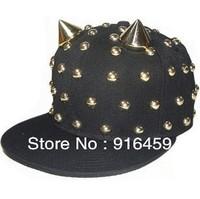 Free shipping  2013 new cow horn rivet wholesale Gold silver PUNK Hiphop baseball snapback Rivet Spike studded Dance Cap hats