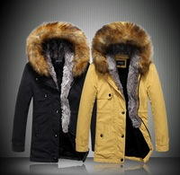 Free shipping 2013 new arrival  England Men Slim long fur hat fashion casual winter warm parkas snow coats S1541