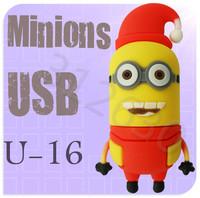 Hot sale U16 Despicable Me 2 Minions Cartoon U Disk 256MB 4GB 8GB 16GB 32GB 64GB USB 2.0 Flash Memory Stick Gift USB Flash Drive