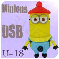 Hot sale U18 Despicable Me 2 Minions Cartoon U Disk 256MB 4GB 8GB 16GB 32GB 64GB USB 2.0 Flash Memory Stick Gift USB Flash Drive
