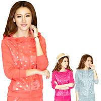 2013 spring and autumn polka dot sports set autumn fashion female slim sweatshirt women's casual set